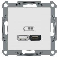 USB-latauspistorasia Schneider Electric A + C 2,4 A valkoinen, Exxact