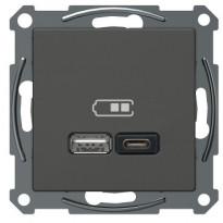 USB-latauspistorasia Schneider Electric A + C 2,4 A antrasiitti, Exxact