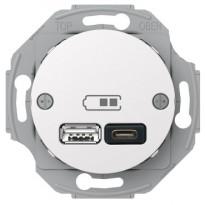 USB-latauspistorasia Schneider Electric A + C 2,4 valkoinen Renova