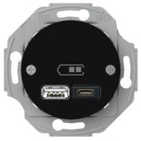USB-latauspistorasia Schneider Electric A + C 2,4 A musta, Renova