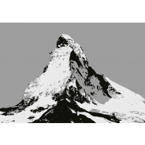 Valokuvatapetti Idealdecor Digital Matterhorn Illustration Black And White 4-osaa, 5015-4V-1, 254x368cm