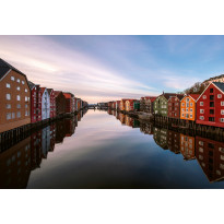 Valokuvatapetti Idealdecor Digital Colorful Houses At The River In Norway 4-osaa, 5157-4V-1, 254x368cm