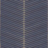 Tapetti YALA Fish Bone Blue YA19563, 0.53x10.05 m, sininen/kulta, non-woven