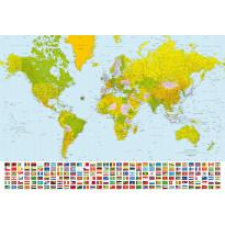 Valokuvatapetti 00280 World Map 8-osainen 366x254cm