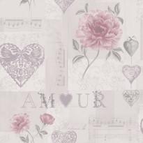 Tapetti Amour 97818 0,53x10,05 m vaaleanharmaa/roosa non-woven