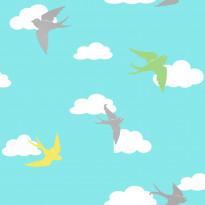 Tapetti Kompis 2 Birds 1330465 0,53x10,05 m turkoosi non-woven