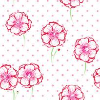 Tapetti Kompis 2 Poppy 1330521 0,53x10,05 m valkoinen/vaaleanpunainen non-woven
