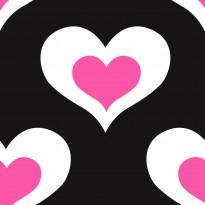 Tapetti Kompis 2 Heart 1330670 0,53x10,05 m musta/pinkki non-woven
