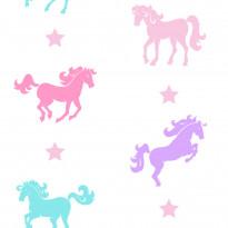 Tapetti Kompis 2 Horse 1330721 0,53x10,05 m valkoinen/vaaleanpunainen non-woven