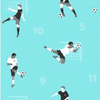 Tapetti Kompis 2 Soccer 1331065 0,53x10,05 m turkoosi non-woven