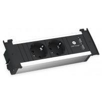 Pistorasiayksikkö Savo Kapsa, USB-liitännällä, musta