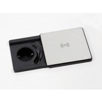 Pistorasiayksikkö Savo Neliö Basic QI USB-liitännällä hopea