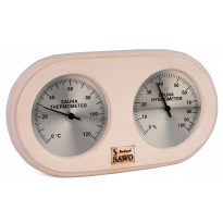 Saunan kosteus-lämpömittari, 140x255mm, vaalea haapa