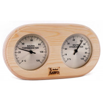 Saunan kosteus-lämpömittari, 140x255mm, mänty