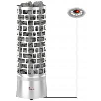 Sähkökiuas SAWO Aries Round 6kW Ni (5-9m³), erillinen ohjauskeskus, Verkkokaupan poistotuote