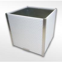 Kukkalaatikko Scandkom 46x46x46cm, polyrottinki, valkoinen