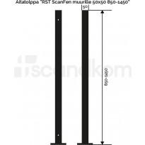 Aitatolppa Scandkom ScanFen muurille, 50x50x850mm, rst