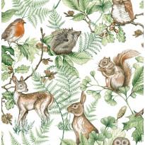 Tapetti Sandudd Woodland Animals Natural 108569, 0.53x10.5m