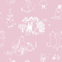 Tapetti Sandudd Muumi 5350-2, 0.53x10.05m, vaaleanpunainen, non-woven