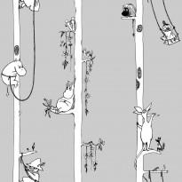 Tapetti Sandudd Muumi 5351-3, 0.53x10.05m, vaaleanharmaa, non-woven