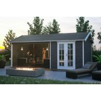 Lomamaja Skan Holz Tilburg + katos, vahvuus 28mm, 613x380cm (23,29 m²), harmaa