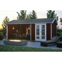 Lomamaja Skan Holz Tilburg + katos, vahvuus 28mm, 613x380cm (23,29 m²), punainen, Verkkokaupan poistotuote