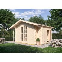 Puutarhavaja Skan Holz Multi 45, vahvuus 45mm, 300x280cm (11,76m²) + sivuvarasto ja sivukatos