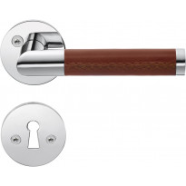 Väliovenpainike Beslagsboden Design B859KN, avainkilvellä, kiillotettu kromi/ruskea nahka