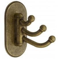 Kolmoiskoukku Beslagsboden 1123, kääntyvä, tarrakiinnitys, antiikkimessinki