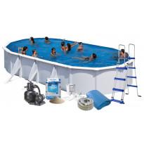 Uima-allas + allastarvikkeet Swim & Fun Budget, 730x375x120cm, ovaali, valkoinen, teräs