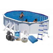 Uima-allas + allastarvikkeet Swim & Fun Budget, 610x375x120cm, ovaali, valkoinen, teräs