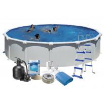 Uima-allas + tarvikepaketti Swim & Fun Basic, Ø550x132cm, pyöreä, valkoinen, teräs