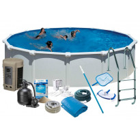 Uima-allas + tarvikepaketti Swim & Fun Delux, Ø550x132cm, pyöreä, valkoinen, teräs