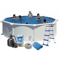 Uima-allas + tarvikepaketti Swim & Fun Basic, Ø460x132cm, pyöreä, valkoinen, teräs