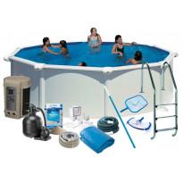 Uima-allas + tarvikepaketti Swim & Fun Delux, Ø460x132cm, pyöreä, valkoinen, teräs