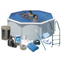 Uima-allas + tarvikepaketti Swim & Fun Delux, Ø350x132cm, pyöreä, valkoinen, teräs, Tammiston poistotuote