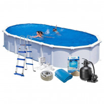 Uima-allas + allastarvikkeet Swim & Fun Basic, 730x375x132cm, ovaali, valkoinen, teräs