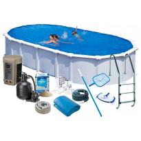 Uima-allas + allastarvikkeet Swim & Fun Delux, 730x375x132cm, ovaali, valkoinen, teräs