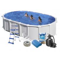 Uima-allas + allastarvikkeet Swim & Fun Basic, 610x375x132cm, ovaali, valkoinen, teräs
