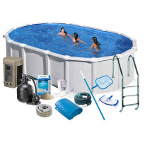 Uima-allas + allastarvikkeet Swim & Fun Delux, 610x375x132cm, ovaali, valkoinen, teräs