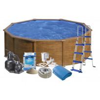 Uima-allas + tarvikepaketti Swim & Fun Ø460x120cm, pyöreä, puujäljitelmä/teräs