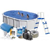 Uima-allas + allastarvikkeet Swim & Fun Basic, 500x300x132cm, ovaali, valkoinen, teräs