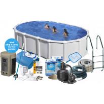 Uima-allas + tarvikepaketti Swim & Fun Delux, 500x300x132cm, ovaali, valkoinen, teräs