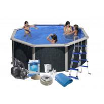 Uima-allas + tarvikepaketti Swim & Fun Java, Ø350x120cm, pyöreä, rottinkijäljitelmä
