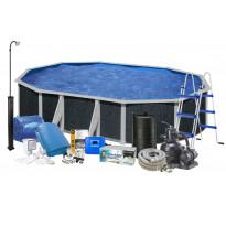 Uima-allassetti aurinkolämmittimellä ja pihasuihkulla Swim & Fun Java, 500x350x120cm, ovaali, rottinkijäljitelmä