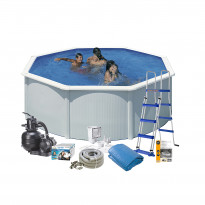 Uima-allaspaketti Swim & Fun Basic 120, pyöreä Ø350 cm valkoinen