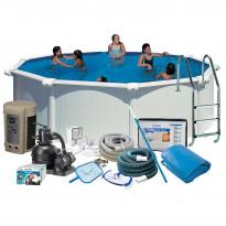 Uima-allaspaketti Swim & Fun Delux 132, pyöreä Ø460 cm valkoinen