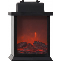LED-lyhty Star Trading Fireplace, 21cm, musta