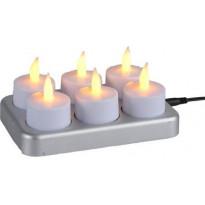 LED-lämpökynttilä Star Trading Chargeme, 6 kpl, valkoinen