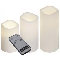 LED-kynttilä + kaukosäädin Star Trading Paul, 7,5x7,5x18cm, 3 kpl, valkoinen